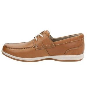 CLARKS FALLSTON STYLE LACEUP BOAT SHOE TAN LEATHER